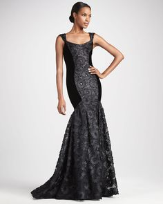 56c67c83e32 Theia Flared Contour-Panel Gown