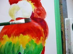 a step-by-step for painting Parrots