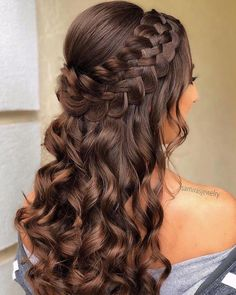 Braided Half Up Updo For Wavy Hair ❤️Hairstyles for long hair are really popular right now. See our 18 amazing Christmas ideas of half up half down hairstyles for long hair. ❤️ homecoming hairstyles 18 Nice Holiday Half Up Hairstyles for Long Hair Down Hairstyles For Long Hair, Pretty Hairstyles, Homecoming Hairstyles Down, Prom Hairstyles Half Up Half Down, Curly Half Up Half Down, Sweet 16 Hairstyles, Hair For Homecoming, Hairstyles For Graduation, Curly Braided Hairstyles
