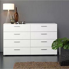 White Modern Bedroom 8-Drawer Double Dresser - Loluxe