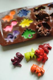 Rust & Sunshine: Recycled Dinosaur Crayons Use a silicone mold for any party theme.