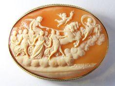 SUPERB ANTIQUE 9K GOLD SHELL CAMEO PHOEBUS APOLLO CHARIOT, HOURS & AURORA c1890
