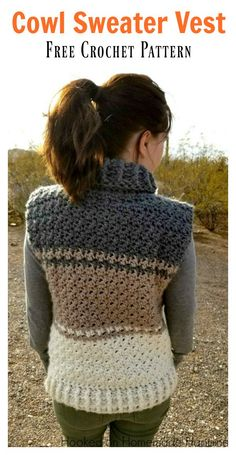 Cowl Sweater Vest Free Crochet Pattern #freecrochetpatterns #freepattern #cowl