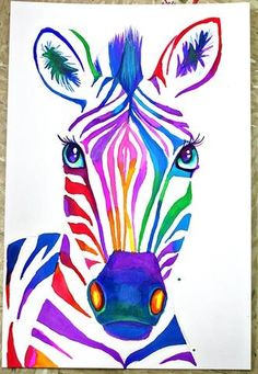 art projects 25 Creative Watercolor Projects this is almost exactly like the painting I did! I didnt copy, I promise! Zebra Painting, Zebra Art, Art Projects For Adults, Cool Art Projects, Summer Art Projects, Project Ideas, Watercolor Projects, Watercolor Art, Liquid Watercolor