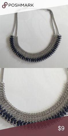 Necklace Silver and navy necklace Jewelry Necklaces