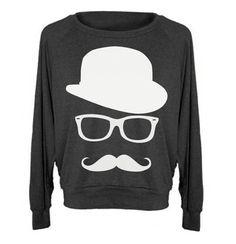 Womens MUSTACHE Hat Wayfarer Sweatshirt Raglan Pullover - American Apparel Sweater - S M and L (8 Color Options) via Etsy