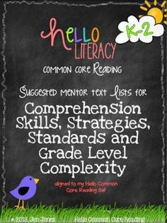 FREE Mentor Text Lists for Common Core Reading Literature Standards Comprehension Strategies, Reading Strategies, Reading Skills, Reading Comprehension, 3rd Grade Reading, Kindergarten Reading, Teaching Reading, Guided Reading, Third Grade
