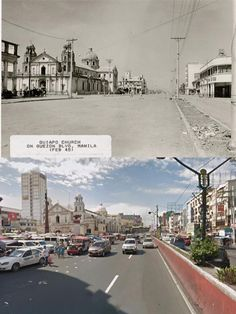 Dito, Noon: Quiapo, Manila, 1945 x Philippines Culture, Manila Philippines, Filipino Architecture, Filipiniana, Back In Time, Island Life, Old Houses, Old Photos, Bullet