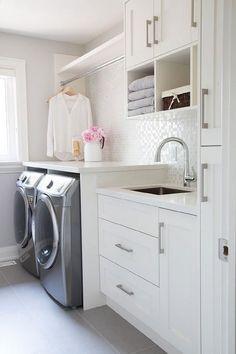 Laundry Room with White Iridescent Tile Backsplash, Transitional, Laundry Room