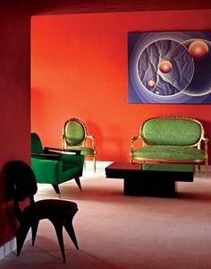 Pierre Cardin, orange walls and green chairs #interior