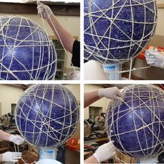 Extra large string lampshade using pilates ball or large balloon wrapping ball with twine