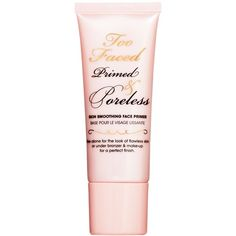 Too Faced Primed & Poreless Skin Smoothing Face Primer ($30) ❤ liked on Polyvore featuring beauty products, makeup, face makeup, makeup primer, beauty, primer, fillers, no color and too faced cosmetics