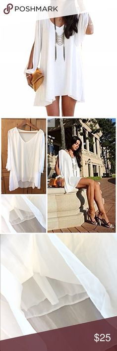 "⬇️SALE⬇️ NWOT -Chiffon Mini Dress NWOT -- White Sheer V-Neck dresswith ""Batwing"" long SleeveLoose fittingAsymmetric HemDouble layeredSimple yet chicRuns Small Dresses Asymmetrical"