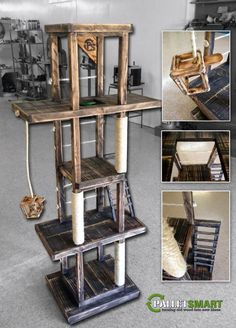 Cat gym made from recycled wood pallets