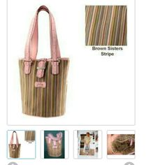 NWOT- PINK SISTERS STRIPE BUCKET HANDBAG LONGABURGER New Never used fantastic colors can be worn very casual with blue jeans or dressed up. MINT CONDITION LONGABURGER  Bags Mini Bags