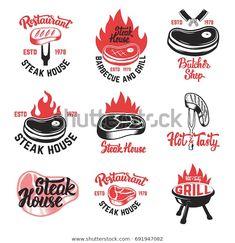Set of steak house, butchery shop emblems with lettering. Design elements for logo, label, emblem, sign. Creative Brochure, Creative Flyers, Carne Asada, Badge Design, Logo Design, Lettering Design, Carnes Premium, Carnicerias Ideas, Grill Logo