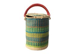 african woven grass tall basket with top lid | via rummage home
