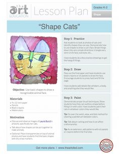 Shape Cats: Free Lesson Plan Download - The Art of Ed