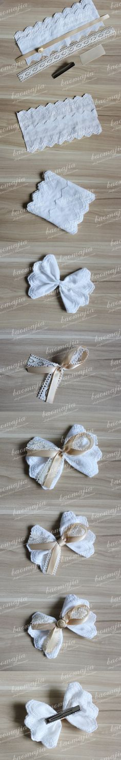 cotton lace, ribbon, hair clip ...