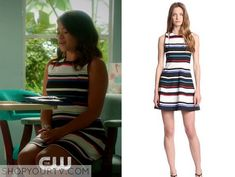 Jane the Virgin: Season 1 Episode 9 Janes Multicolor Stripe Dress Young Professional, Professional Outfits, Teacher Wardrobe, Gina Rodriguez, Sunday Dress, Jane The Virgin, Stripe Dress, Virtual Closet, Season 1
