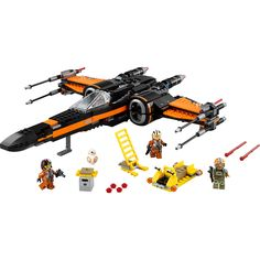 Battle the forces of the First Order with Poe's X-Wing Fighter. This customized starfighter is packed with features, like the 4 spring-loaded shooters, 2 stud shooters, retractable landing gear, opening wings, opening cockpit with space for a minifigure and space behind for the BB-8 Astromech Droid. There's even a loader with weapon rack, extra missiles and ammunition, and a seat for a minifigure. So climb the access ladder, strap in and get ready to recreate your own great scenes from Star…