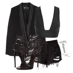Victoria Beckham Cape, House of CB bralet, Etsy seller shorts and Giuseppe Zanotti sandals xx