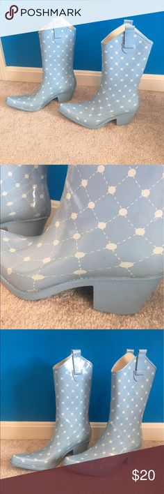 Stadium stomper western style rain boots! Light blue blue midcalf great looking western boots style rain boots! Fun and fashionable and practical! Shoes Winter & Rain Boots