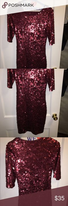 BCBG Burgundy Sequined Dress Stretchy body hugging sequined dress. Only worn once in picture above. Can fit XS and S. Great condition. BCBG Dresses Midi