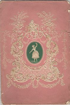 Valentine card envelope made of pink paper, and shows a dancing woman.