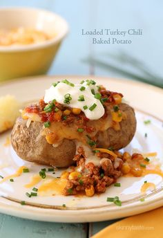 A QUICK & EASY Weeknight Meal – stuffed with turkey chili and topped with melted cheese!
