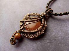 Brown Goldstone copper wire wrapped pendant by PillarOfSaltStudio
