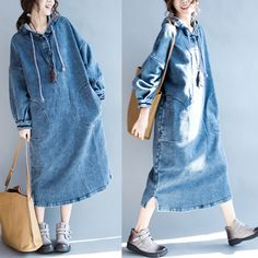 Women thick cotton long loose dress - Buykud - 1