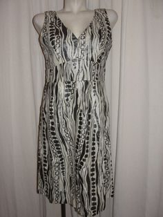 WD*NY Womens Size 10 Metallic Beige Black Linen Viscose Blend Sleeve-less Dress #WDNY #TeaDress #Cocktail