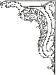 French Corner Ornaments. Graphics Fairy