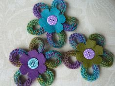 French Knitted & Felt Button Brooch Corsage Pin by SewCraftyLou, £7.00