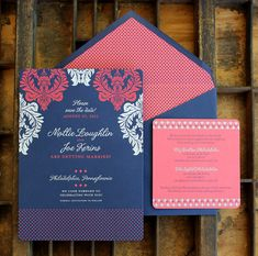 Vibrant navy, coral and white save the date by Curious & Company Invitations