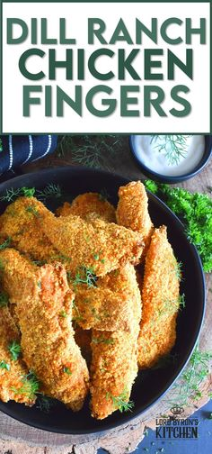 Oven baked until crisp, Dill Ranch Chicken Fingers are first soaked in buttermilk and then breaded in a mixture consisting of crushed corn flakes, chives, parsley, dill, garlic, onion, and a little bit of optional cayenne pepper. Serve these will a buttermilk dill ranch dressing for the ultimate grown up chicken finger! #dillranch #chickenfingers #chicken #bakednotfried #ovenbaked #recipesformoms #dill Whole Roasted Chicken, Easy Baked Chicken, Easy Chicken Dinner Recipes, How To Cook Chicken, Appetizer Recipes, Vegetable Slow Cooker, Slow Cooker Chicken, Duck Recipes, Turkey Recipes