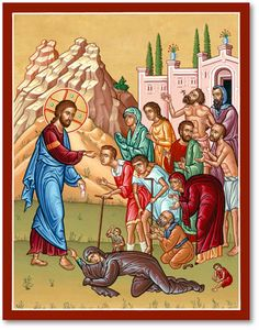 Shop Monastery Icons for a lovely range of icons of Christ, such as this Christ Healing Sick Icon. Religious Pictures, Jesus Pictures, Religious Icons, Religious Art, Monastery Icons, Miracles Of Jesus, Jesus Heals, Christian Artwork, Man Icon