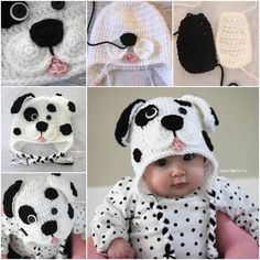 DIY #Crochet Cute #Dalmatian Dog #Baby Hat