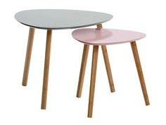 Sivupöytä TAPS S roosa/bambu