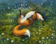 Лиса нежится на траве, в окружении одуванчиков, by louielorry