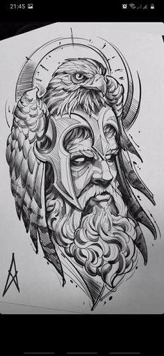 Viking Tattoo Sleeve, Norse Tattoo, Tattoo Sleeve Designs, Sleeve Tattoos, Tattoo Sketches, Tattoo Drawings, Blackwork, New Tattoos, Tattoos For Guys