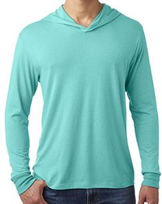 Mens TriBlend Lightweight Hoodie Tee Large Tahiti Blue -- Check this awesome product by going to the link at the image.  This link participates in Amazon Service LLC Associates Program, a program designed to let participant earn advertising fees by advertising and linking to Amazon.com.