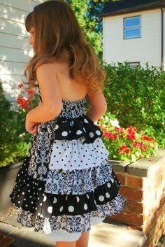 RUFFLE  BUSTLE  BACK  girls toddler dress spring summer custom other prints available via Etsy