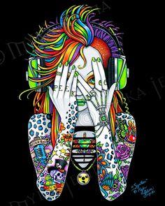 Synthea Psytrance Peek A Boo Tattoo Fairy Lt Ed Embellished Canvas Print. $60.00, via Etsy.