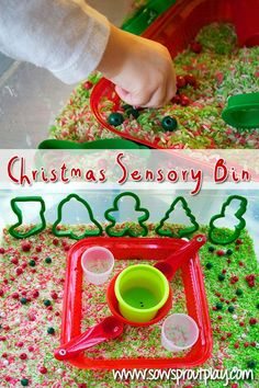 Christmas Sensory Bin that uses Cinnamon and Vanilla scented and colored rice! Also great for building fine motor skills! Pinned by The Sensory Spectrum pinterest.com/sensoryspectrum