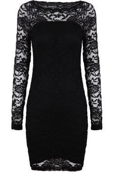Black Contrast Lace Long Sleeve Embroidered Dress US$22.30