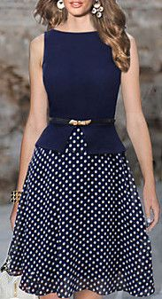 A-line Bateau Knee-length Polyester Semi-Formal Dress