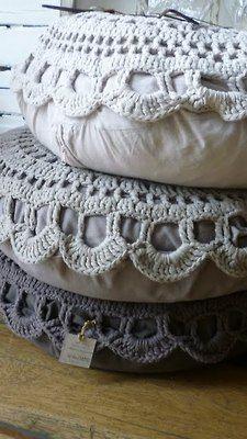 floor pillows with doily covers