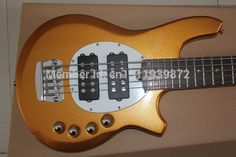 255.00$  Know more - http://aixr3.worlditems.win/all/product.php?id=32792322631 - Free shipping Top quality 5 string Customised-Made Music Man Bongo 6HH metal yellow color active pickup Electric Guitar